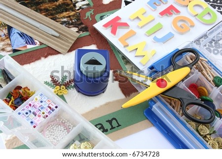 A selection of scrapbooking / craft materials