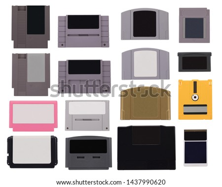 A selection of various blank retro video game cartridges #1437990620