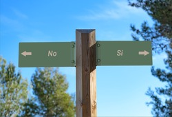 A selective focus shot of a way signpost with