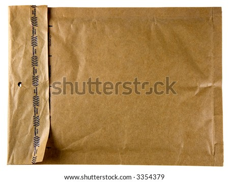 A self-sealing brown envelope isolated on white