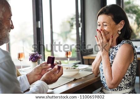 A senior couple wedding proposal