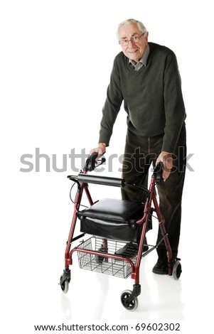 A senior man looking at viewer as he strolls with his wheeling walker.  Isolated on white.