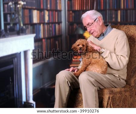 A senior man petting his poodle in a home library/office. - stock photo
