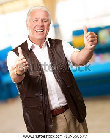 A Senior Man Showing Thumbs Up, Indoor