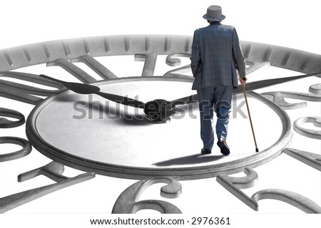 A senior walking on an enlarged clock depicting aging, retirement and time