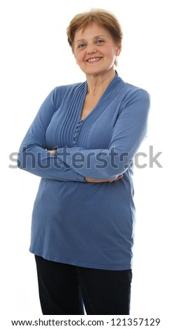 a senior woman - over sixty years old standing on white background