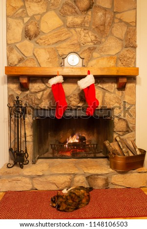 A serene setting by a stone fireplace with two Christmas stockings hung on the mantle and the famiy cat relaxing by the fire.