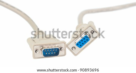 A serial communications connector marked RS 232C. Isolated on  white background.  No shadows on the background.