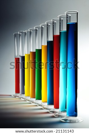 A series of cylinders with colorful chemicals