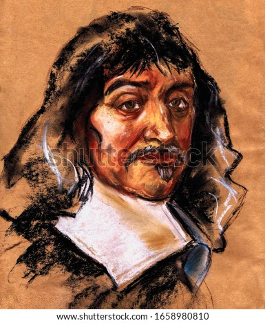 A series of great scientists. Rene Descartes - French philosopher, mathematician, mechanic, physicist and physiologist, creator of analytical geometry Foto stock ©