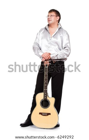 A series of photos of the person with a guitar - stock photo