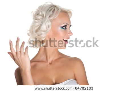 A series of photos, Portrait of a beautiful attractive make up and hairstyle girl expressing excitement isolated on white background