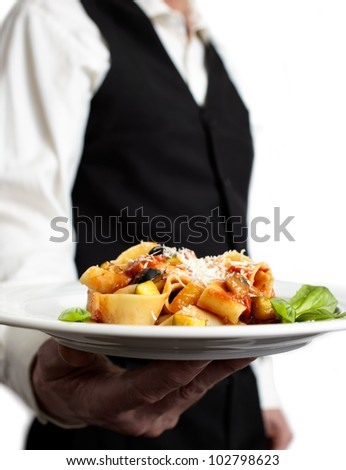 A servant is holding a plate with pasta, tomato sauce, parmesan and basil. Focus on plate. Close-up.