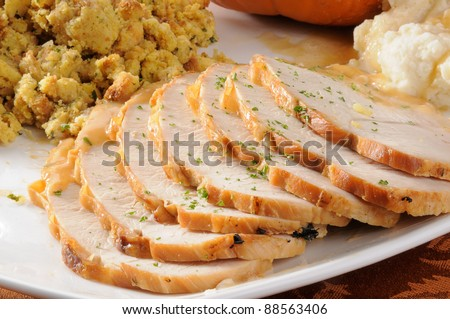A serving platter with sliced turkey breast with mashed potatoes and stuffing