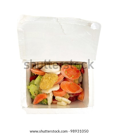 A sesame seed dinner with vegetables in a cardboard container on a white background.