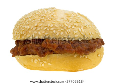 A sesame seed roll sloppy joe sandwich isolated on a white background. #277036184