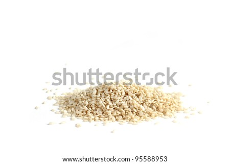 A sesame seeds on a white background