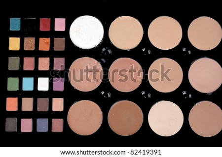 a set colorful of makeup pallet isolated on white background