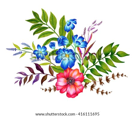 a set floral bouquets. Four bouquets with many exotic andftraditional garden flowers. vintage style botanical illustration, very detailed.