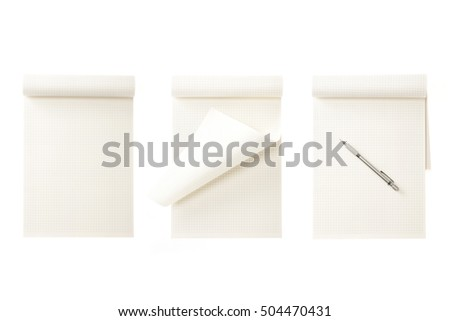 A set(group) of empty(blank) white(vintage, old) note(book) spread with wood pencil isolated white. #504470431