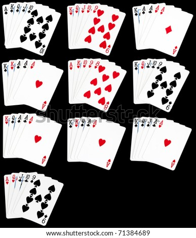 A set of all hands in poker from a royal flush to high card.