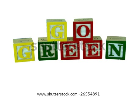 a set of alphabet blocks that spell go green in two rows