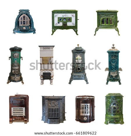 a set of antique furnaces of...