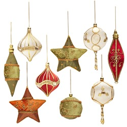 a set of antique сhristmas tree toys isolated on a white background