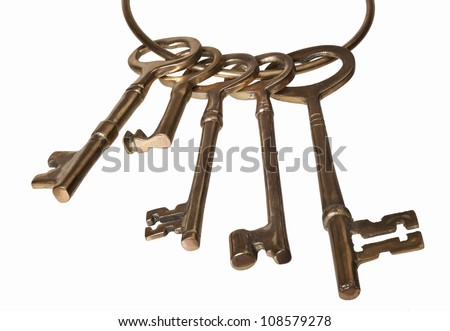 A set of antique keys isolated on white