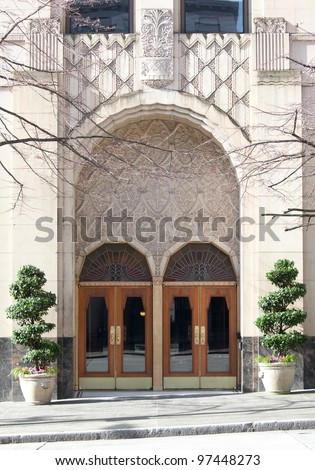 A set of art deco arched doorways