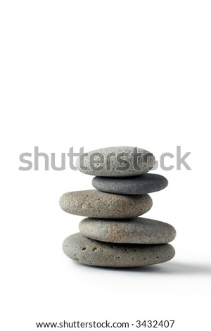 A set of balanced round smooth stones