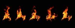 A set of bonfire energy that burns on a black background