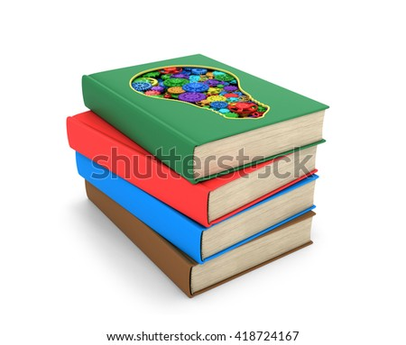 A set of books where one of the books is cut in the form of a light bulb inside which multicolored shesterni.Izolovanyy on a white background. 3D illustration