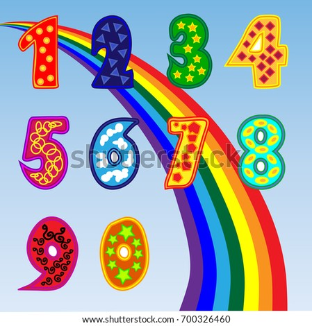 A set of bright figures for children from one to zero. A set of sweet numbers. Rainbow, poster for preschoolers.