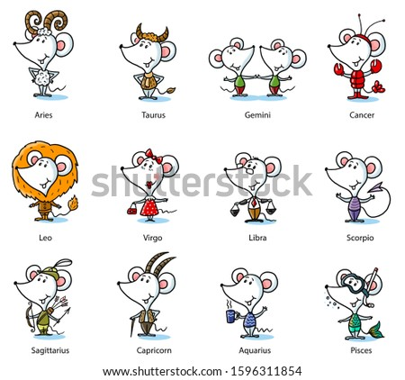 a set of cartoony zodiac signs for the year of a white rat 2020