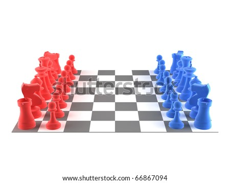 A set of chess pieces - blue + red