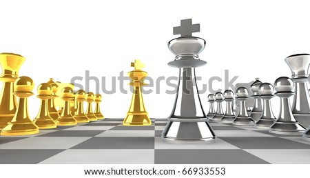 A set of chess pieces in gold and silver with focus on the king pieces