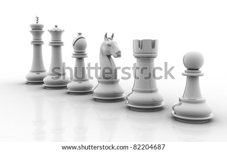 A set of chess pieces isolated on a white background