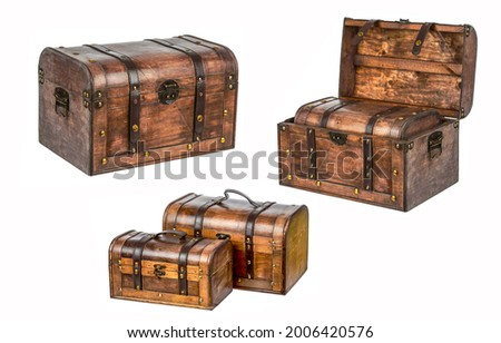 A set of chests isolated on white. Chest set. Open chest and closed chests