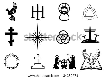 A set of Christian religious signs and symbols