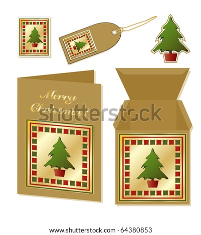 A set of Christmas stationery with card, gift box, stamp, sticker and tag. Also available in vector format