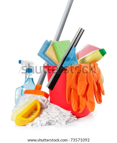 a set of cleaning products isolated on white background