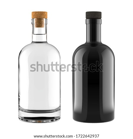 A Set of Clear Glass and Black Bottles for Whiskey, Vodka, Gin, Rum, Liquor or Tequila Bottle for Accurate Work with Light and Shadows. 3D Render Isolated on a White Background. Сток-фото ©