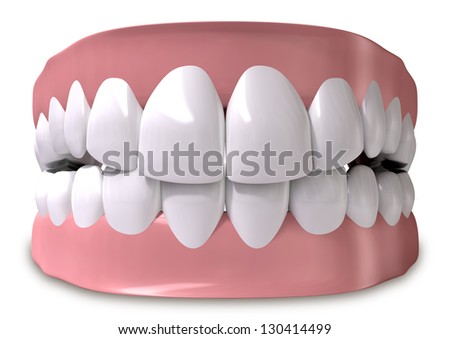 A set of closed human teeth set in gums on an isolated background