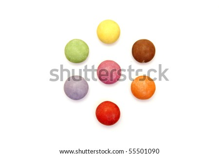 a set of color candies isolated on white