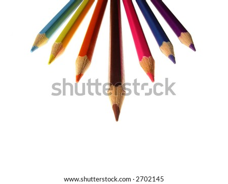 A set of colored pencils isolated on white background.Available room for latter use.