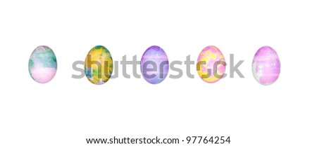 A set of colorful Easter eggs isolated on a white background