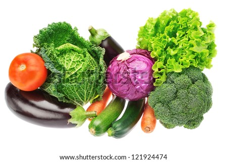 A set of colorful vegetables of cabbage, broccoli, zucchini and lettuce. On a white background.