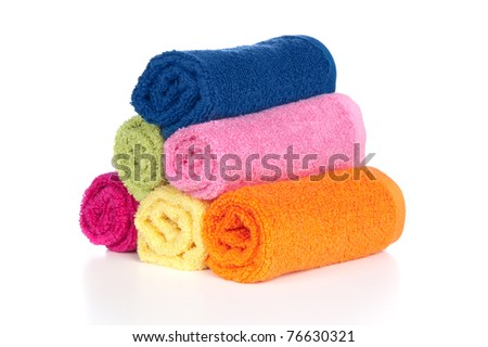 A set of colorful wash towels on a white background.