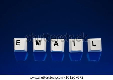 A set of computer keyboard keys spelling out EMAIL.  Good for Internet and technology inferences.
